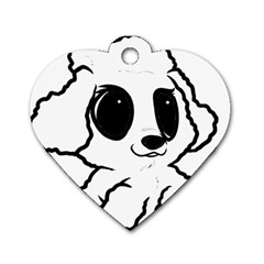 Poodle Cartoon White Dog Tag Heart (Two Sides)