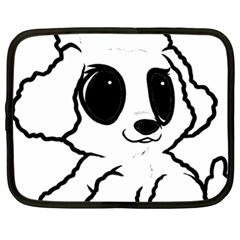 Poodle Cartoon White Netbook Case (XXL)