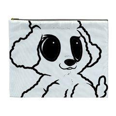 Poodle Cartoon White Cosmetic Bag (XL)