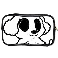 Poodle Cartoon White Toiletries Bags