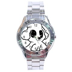 Poodle Cartoon White Stainless Steel Analogue Watch