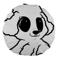 Poodle Cartoon White Large 18  Premium Round Cushions