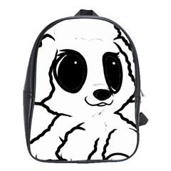 Poodle Cartoon White School Bags (XL)