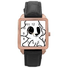 Poodle Cartoon White Rose Gold Leather Watch