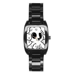 Poodle Cartoon White Stainless Steel Barrel Watch