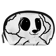 Poodle Cartoon White Accessory Pouches (Large)