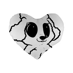 Poodle Cartoon White Standard 16  Premium Flano Heart Shape Cushions