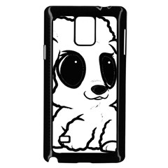 Poodle Cartoon White Samsung Galaxy Note 4 Case (Black)