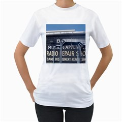 Boise Music And Appliance Radio Repair Painted Sign Women s T-Shirt (White) (Two Sided)