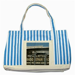 Boise Music And Appliance Radio Repair Painted Sign Striped Blue Tote Bag
