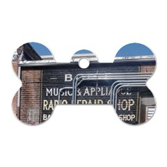 Boise Music And Appliance Radio Repair Painted Sign Dog Tag Bone (Two Sides)