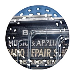 Boise Music And Appliance Radio Repair Painted Sign Round Filigree Ornament (Two Sides)