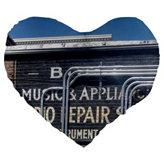 Boise Music And Appliance Radio Repair Painted Sign Large 19  Premium Flano Heart Shape Cushions