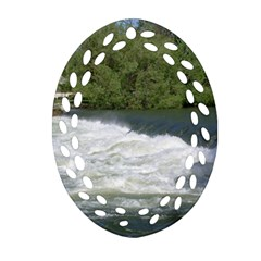 Boise River At Flood Stage Oval Filigree Ornament (Two Sides)