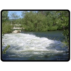 Boise River At Flood Stage Double Sided Fleece Blanket (Large)