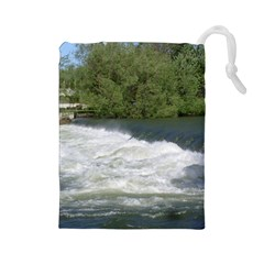 Boise River At Flood Stage Drawstring Pouches (Large)