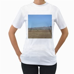Bruneuo Sand Dunes 2 Women s T-Shirt (White) (Two Sided)