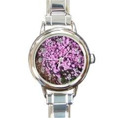 Butterfly On Purple Flowers Round Italian Charm Watch