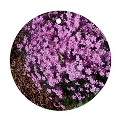 Butterfly On Purple Flowers Ornament (Round)