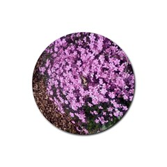 Butterfly On Purple Flowers Rubber Coaster (Round)