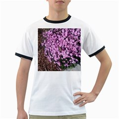 Butterfly On Purple Flowers Ringer T-Shirts