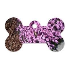 Butterfly On Purple Flowers Dog Tag Bone (Two Sides)