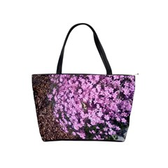 Butterfly On Purple Flowers Shoulder Handbags