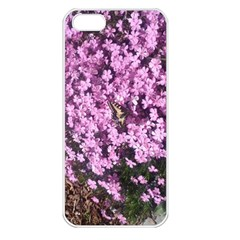 Butterfly On Purple Flowers Apple iPhone 5 Seamless Case (White)