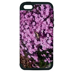 Butterfly On Purple Flowers Apple iPhone 5 Hardshell Case (PC+Silicone)