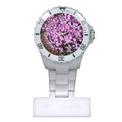 Butterfly On Purple Flowers Plastic Nurses Watch