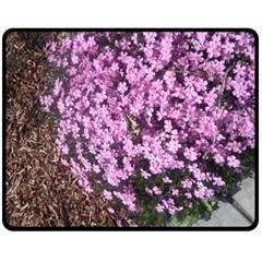 Butterfly On Purple Flowers Double Sided Fleece Blanket (medium)