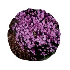 Butterfly On Purple Flowers Standard 15  Premium Flano Round Cushions