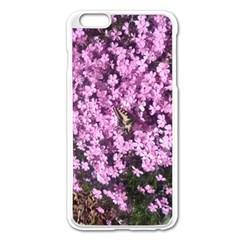 Butterfly On Purple Flowers Apple iPhone 6 Plus/6S Plus Enamel White Case