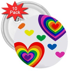 Pride Hearts Bg 3  Buttons (10 pack)
