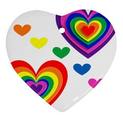 Pride Hearts Bg Heart Ornament (Two Sides)