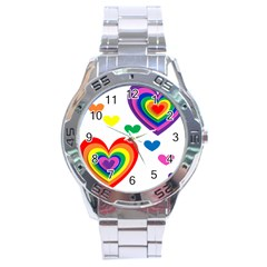 Pride Hearts Bg Stainless Steel Analogue Watch