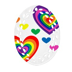 Pride Hearts Bg Ornament (Oval Filigree)