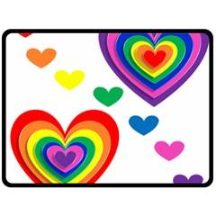 Pride Hearts Bg Double Sided Fleece Blanket (Large)