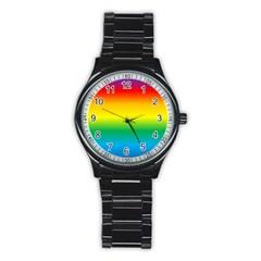 Rainbow Stainless Steel Round Watch