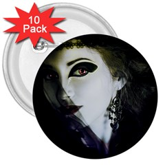 Goth Bride 3  Buttons (10 pack)