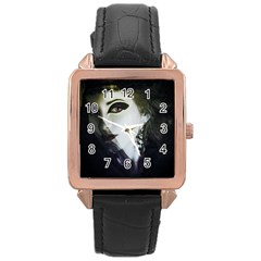 Goth Bride Rose Gold Leather Watch