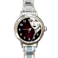 Goth Girl Red Eyes Round Italian Charm Watch
