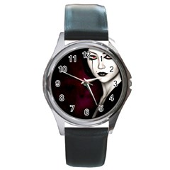 Goth Girl Red Eyes Round Metal Watch