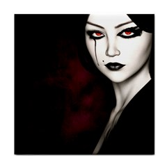 Goth Girl Red Eyes Tile Coasters