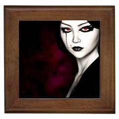Goth Girl Red Eyes Framed Tiles