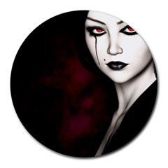 Goth Girl Red Eyes Round Mousepads