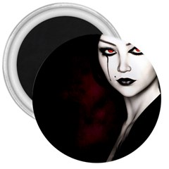Goth Girl Red Eyes 3  Magnets