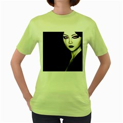 Goth Girl Red Eyes Women s Green T-Shirt