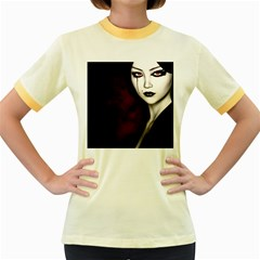 Goth Girl Red Eyes Women s Fitted Ringer T-Shirts