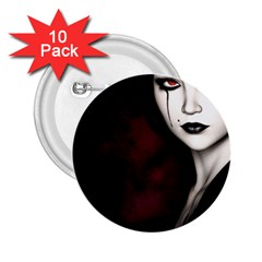 Goth Girl Red Eyes 2.25  Buttons (10 pack)